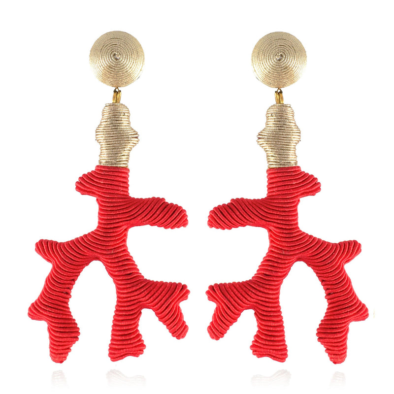 Seychelles Metallic Silk Mix Coral Drop Earrings - Suzanna Dai