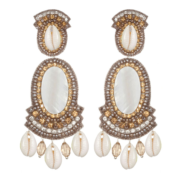 Puka Shell Large Drop Earrings - Suzanna Dai