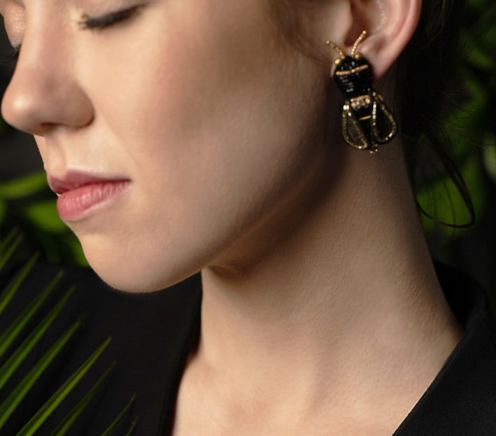 Bumble Bee Button Earrings - Suzanna Dai