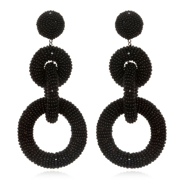Beaded Triple Tiered Hoop Earrings - Suzanna Dai