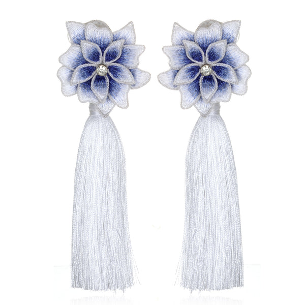 Ombré Flower Tassel Earrings - Suzanna Dai