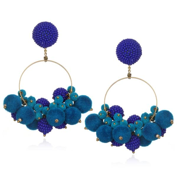 Velvet and Beaded Ball Hoop Earrings - Suzanna Dai