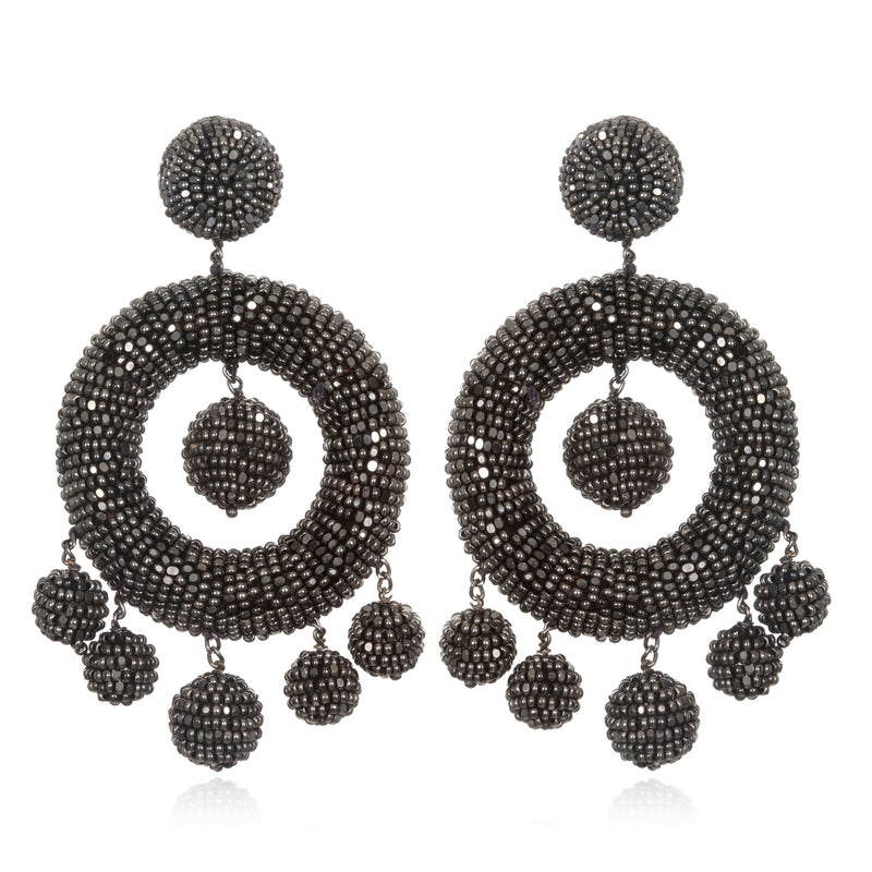 Beaded Chandelier Hoop Earrings - Suzanna Dai