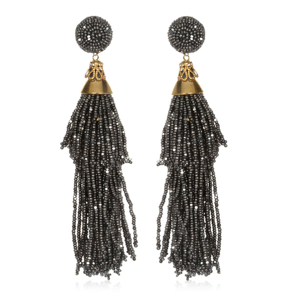 Beaded Double Tassel Earrings - Suzanna Dai