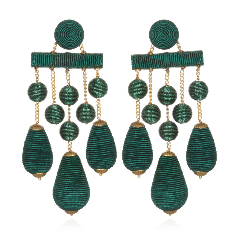 Silk/Metallic Cord Mix Teardrop Chandelier Earrings - Suzanna Dai