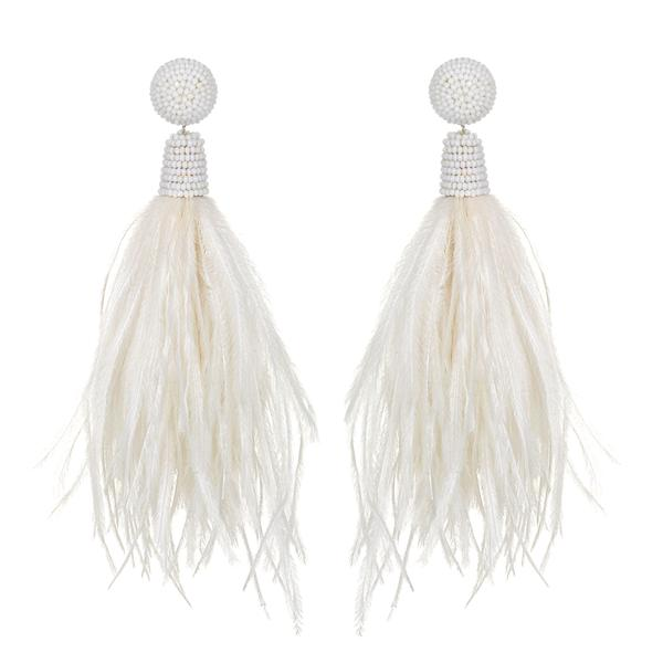 Feather Tassel Earrings - Suzanna Dai
