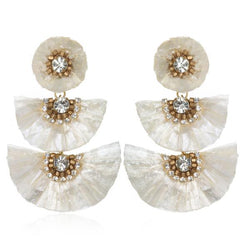 Raffia Fan Drop Earrings - Suzanna Dai