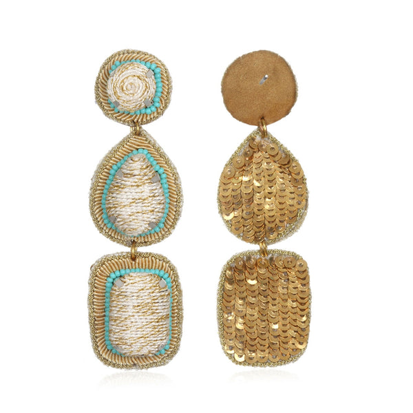 Silk Cord and Sequin Backed Teardrop Earrings - Suzanna Dai