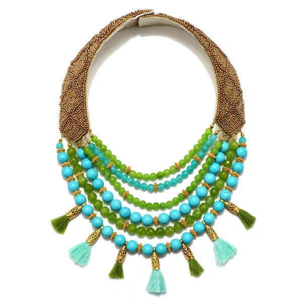 Lisboa Tiered Tassel Statement Necklace - Suzanna Dai