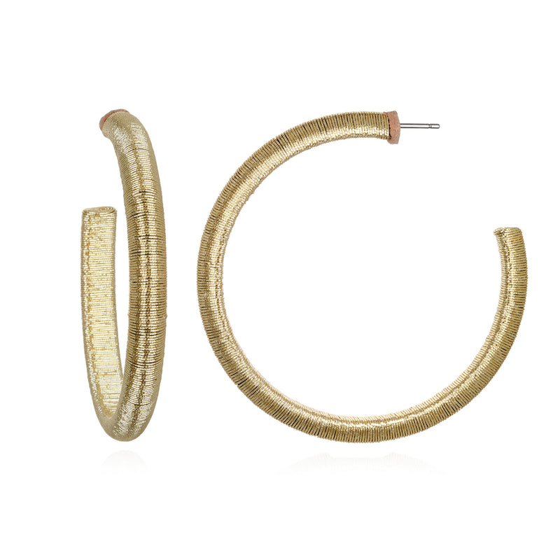 Metallic Large Mallorca Hoop Earrings - Suzanna Dai