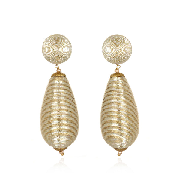 Metallic Single Teardrop Earrings - Suzanna Dai