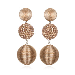 Rhinestone/Metallic Cord Mix Gumball Drop Earrings - Suzanna Dai