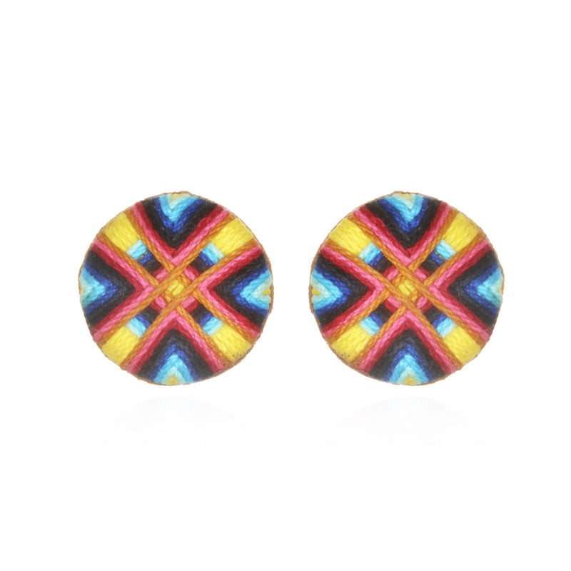 Guatemala Passementerie Button Earrings - Suzanna Dai