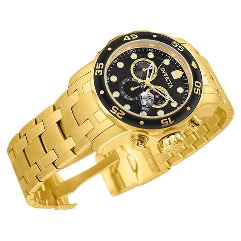 INVICTA Pro Diver Men 48mm Stainless Steel Gold Black dial VD53 Quartz 0072