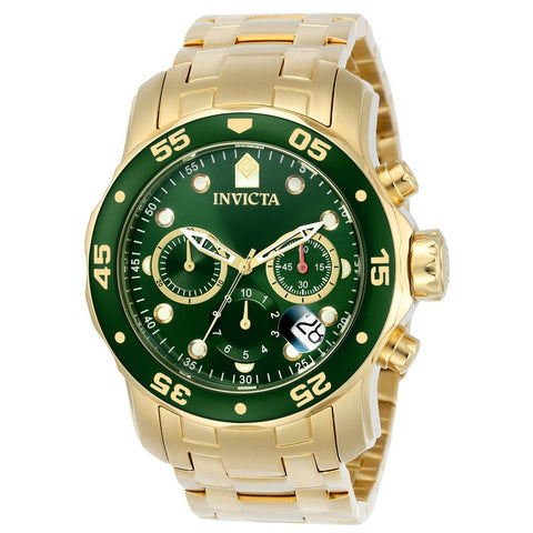 INVICTA Pro Diver Men 48mm Stainless Steel Gold Green dial VD53 Quartz 0075