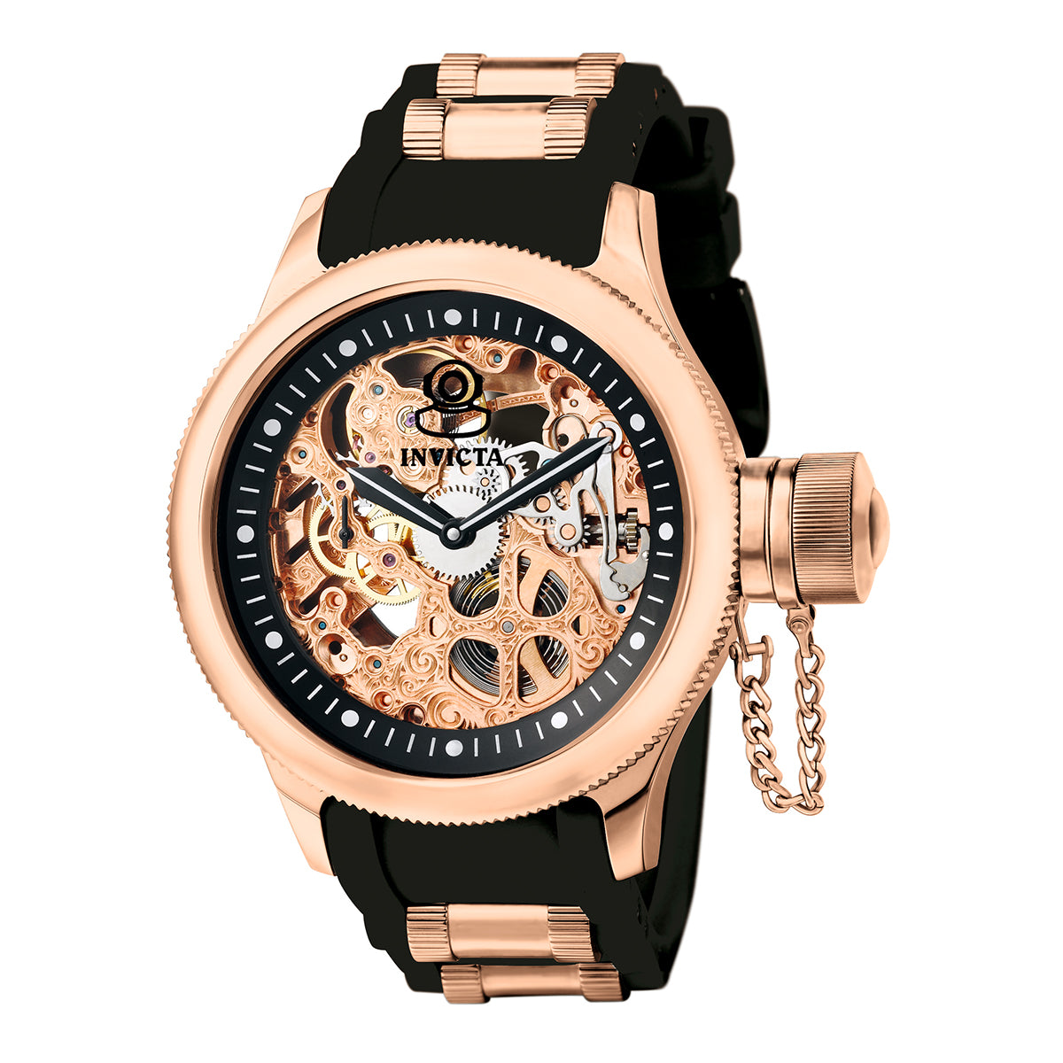 INVICTA Russian Diver Men 51.5mm Stainless Steel Rose Gold Black dial 3600K Mechanical 1090