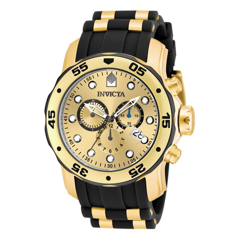 INVICTA Pro Diver Men 48mm Stainless Steel Gold + Black Gold dial VD53 Quartz 17885