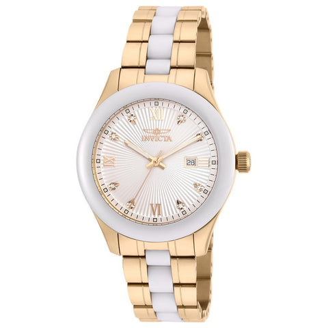 INVICTA Specialty Men 42mm Stainless Steel + Ceramic Gold + White Silver dial 2330/103 Quartz 18154