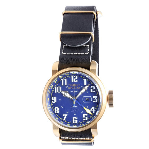 INVICTA Aviator Men 52mm Stainless Steel Gold Blue dial 515.24H Quartz 18889