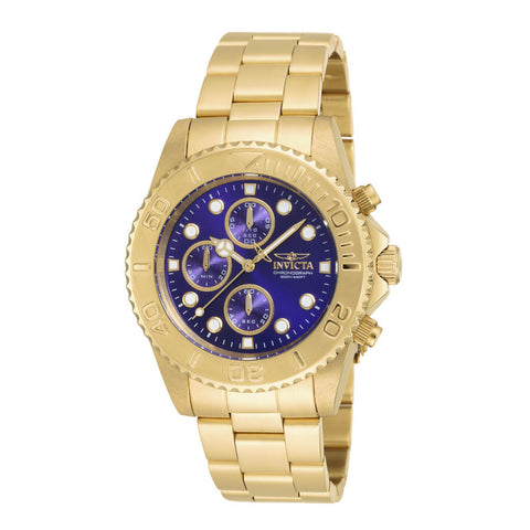 INVICTA Pro Diver Men 43.5mm Stainless Steel Gold Blue dial VD55B Quartz 19157