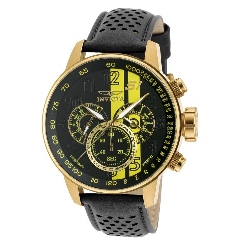 INVICTA S1 Rally Men 48mm Gold Plated + Stainless Steel Gold Black+Yellow dial VD54 Quartz 19905
