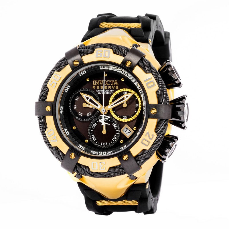 INVICTA Bolt Men 54.5mm Stainless Steel Gold + Black Black dial Z60 Quartz 21367