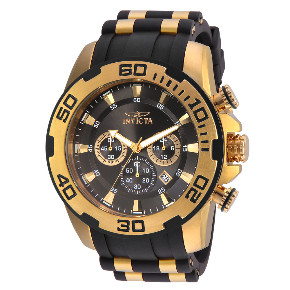INVICTA Pro Diver Men 50mm Stainless Steel Gold Grey+Charcoal dial VD53 Quartz 22344