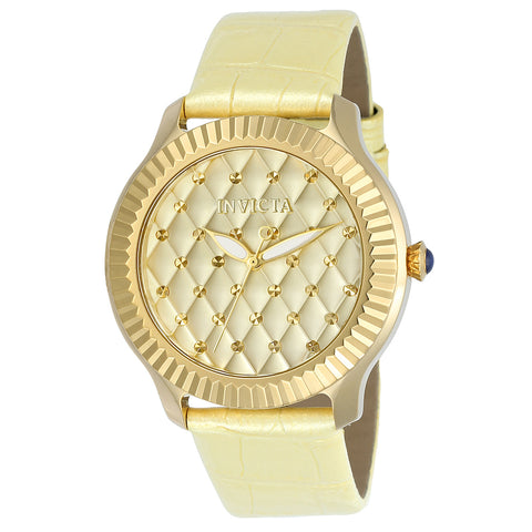 Invicta Angel Women Gold IP 41mm Quartz Watch 22562