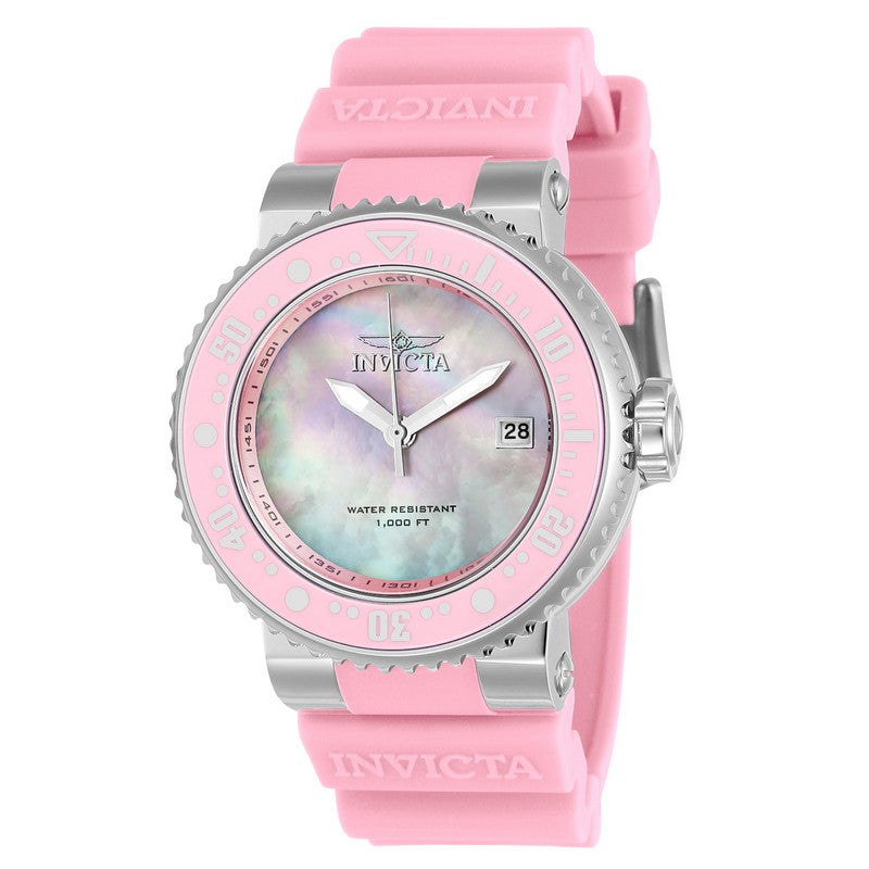 INVICTA Pro Diver Lady 40mm Stainless Steel + Ceramic Pink + Stainless Steel Pink dial PC32 Quartz 22669