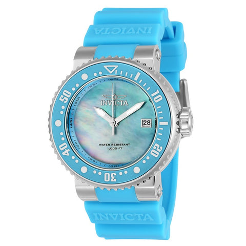INVICTA Pro Diver Lady 40mm Stainless Steel + Ceramic Light Blue + Stainless Steel Light Blue+Antique Silver dial PC32 Quartz 22670
