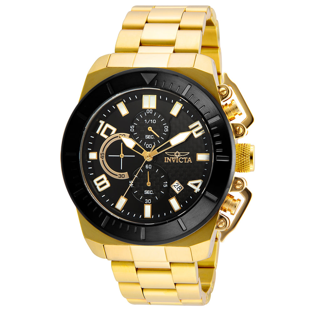 INVICTA Pro Diver Men 48mm Stainless Steel Gold Black dial VD57 Quartz 23406