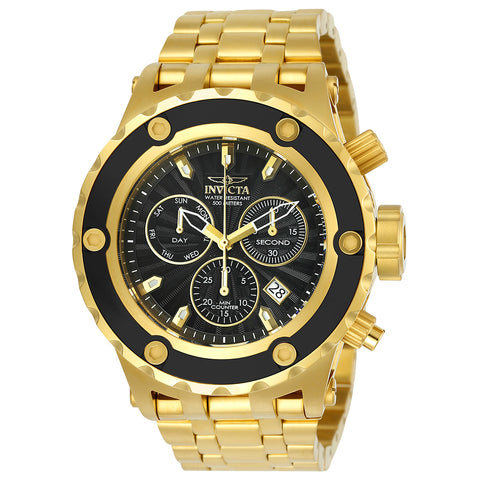 INVICTA Subaqua Men 52mm Stainless Steel Gold + Black Black dial Z60 Quartz 23921