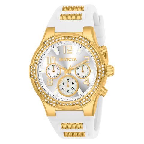 INVICTA BLU Lady 39.5mm Stainless Steel Gold Silver dial VD54 Quartz 24199