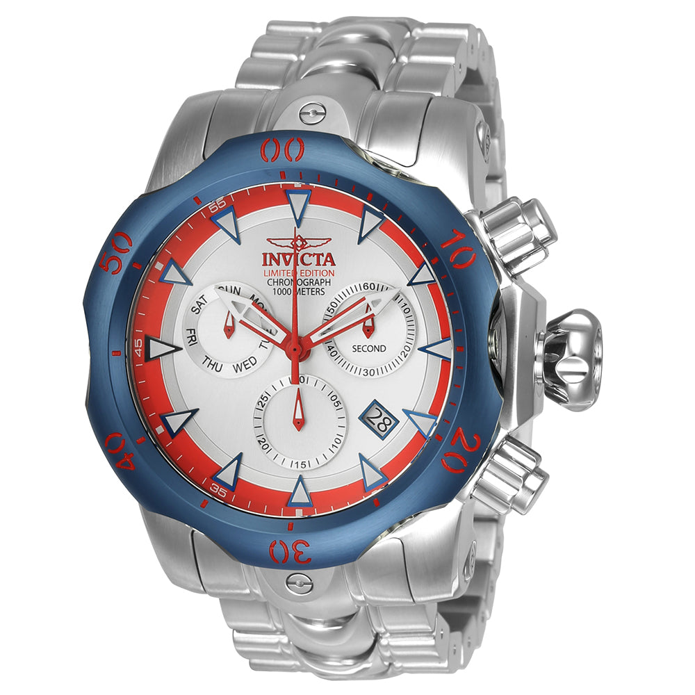 INVICTA Venom Men 53.7mm Stainless Steel Blue + Stainless Steel Silver dial Z60 Quartz 24246