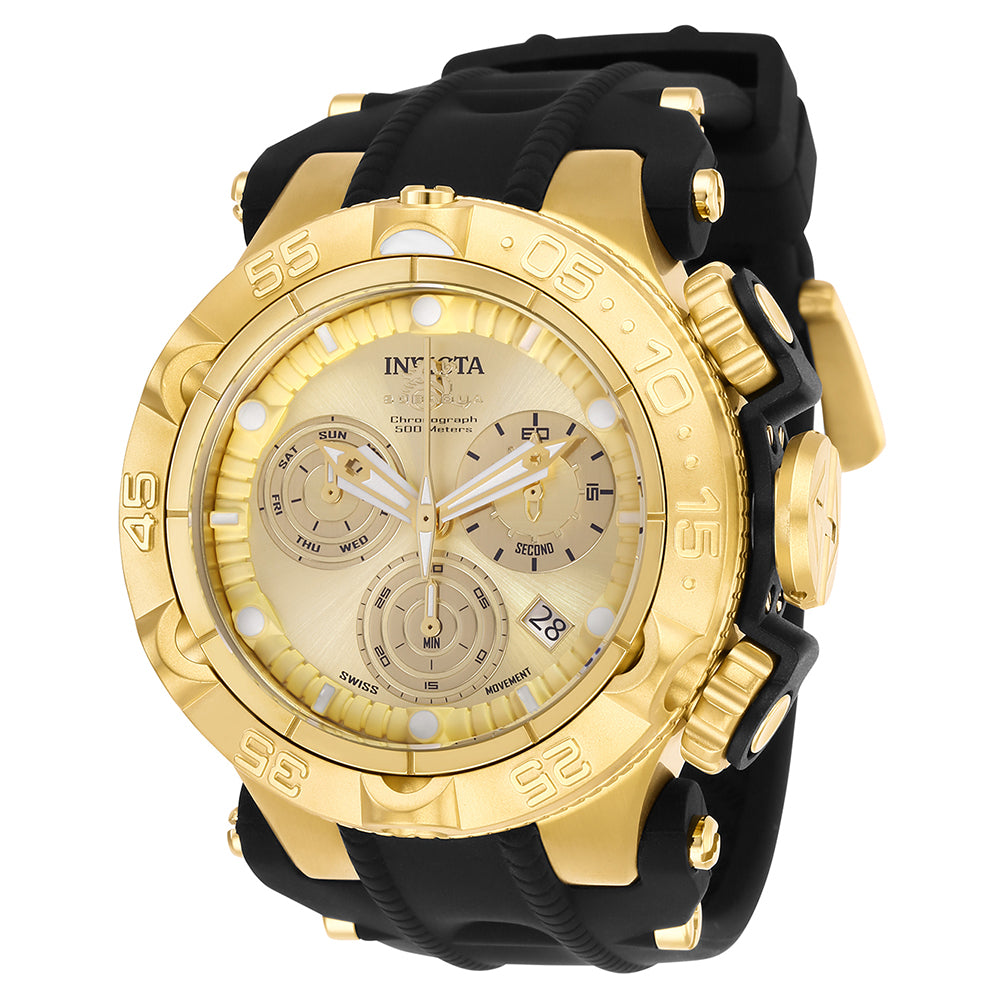 INVICTA Subaqua Men 50mm Stainless Steel + Plastic Gold + Black Gold dial Z60 Quartz 25352