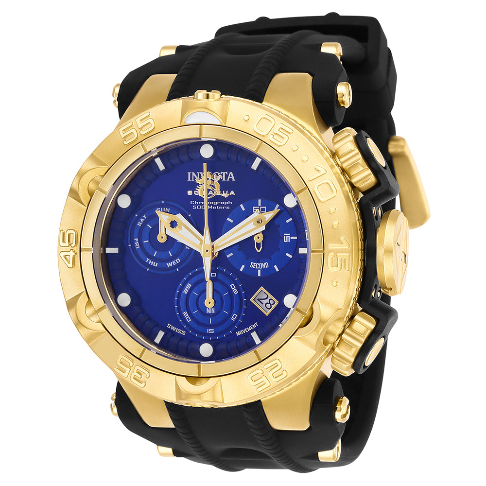 INVICTA Subaqua Men 50mm Stainless Steel + Plastic Gold + Black Blue dial Z60 Quartz 25353