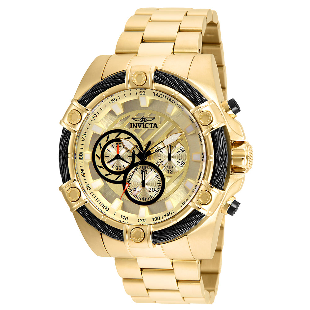 INVICTA Bolt Men 52mm Stainless Steel Gold Gold dial VD54 Quartz 25515