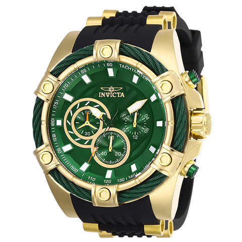 INVICTA Bolt Men 52mm Stainless Steel Gold Green dial VD54 Quartz 25532