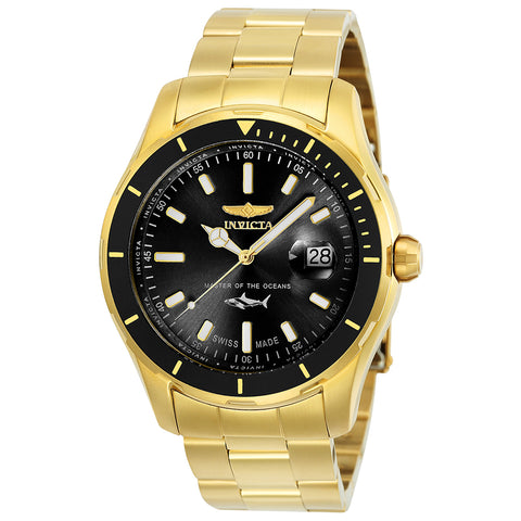 INVICTA Pro Diver Men 44mm Stainless Steel Gold Black dial 515 Quartz 25810