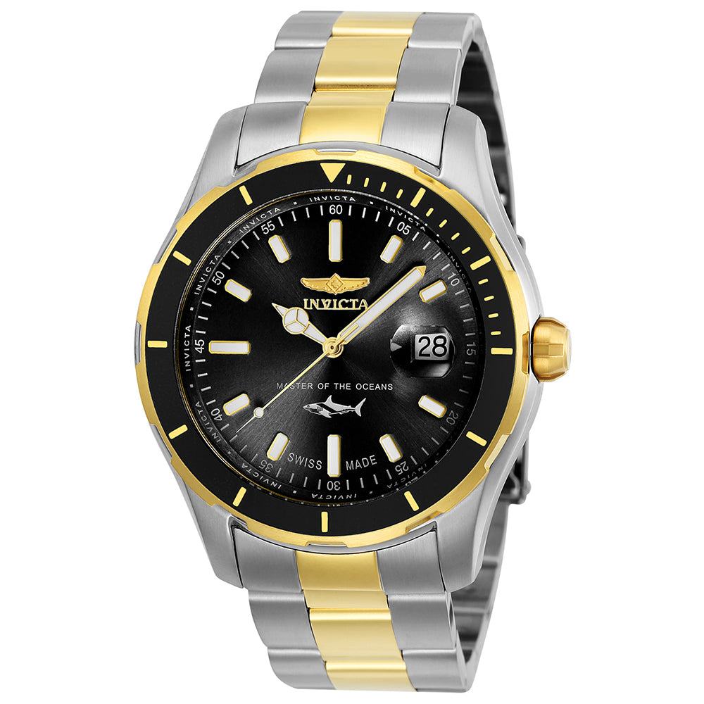 INVICTA Pro Diver Men 44mm Stainless Steel Gold + Stainless Steel Black dial 515 Quartz 25814