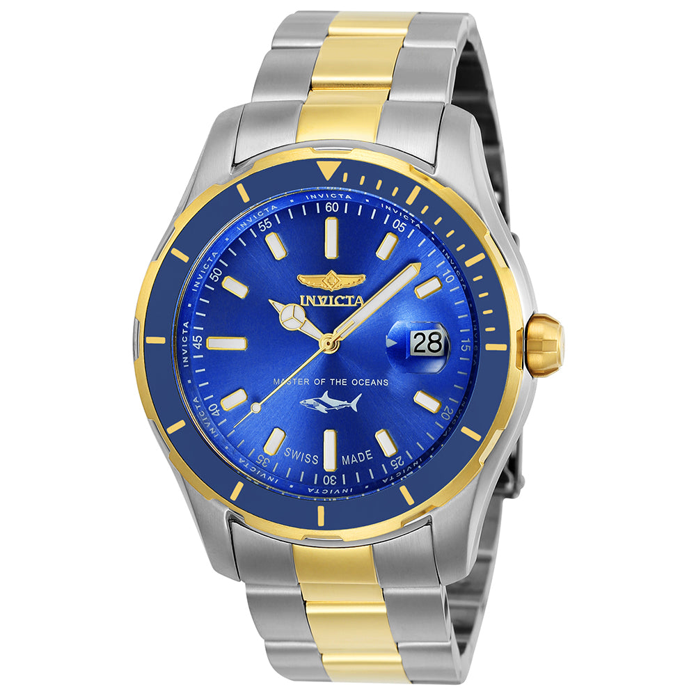 INVICTA Pro Diver Men 44mm Stainless Steel Gold + Stainless Steel Blue dial 515 Quartz 25815