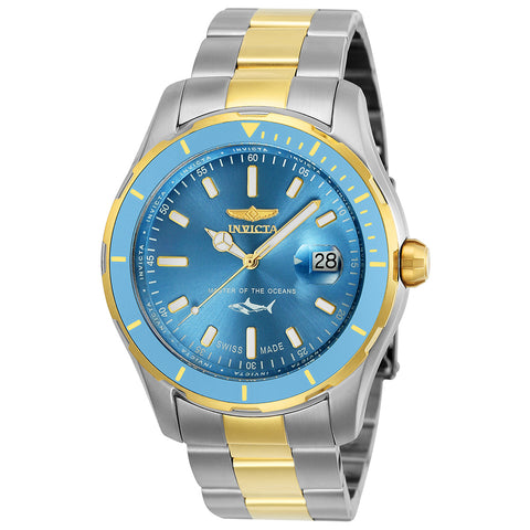 INVICTA Pro Diver Men 44mm Stainless Steel Gold + Stainless Steel Metallic Blue dial 515 Quartz 25817