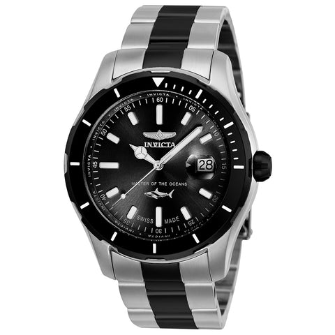 INVICTA Pro Diver Men 44mm Stainless Steel Black + Stainless Steel Black dial 515 Quartz 25819
