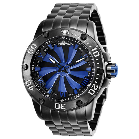 INVICTA Speedway Men 49mm Stainless Steel Gunmetal Black+Blue dial NH35 Automatic 25848