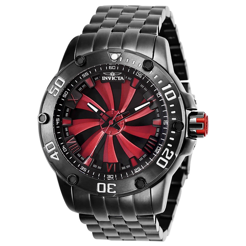 INVICTA Speedway Men 49mm Stainless Steel Gunmetal Black+Red dial NH35 Automatic 25849