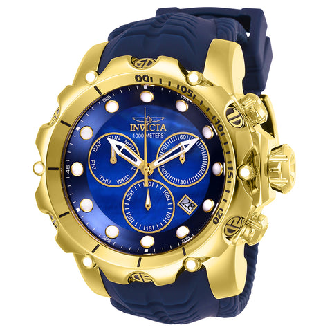 INVICTA Venom Men 55mm Stainless Steel Gold Blue dial Z60 Quartz 26245