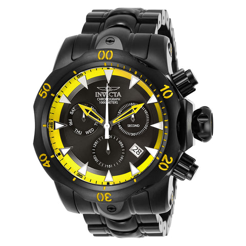 INVICTA Venom Men 53.7mm Stainless Steel Black Black+Yellow dial Z60 Quartz 26637