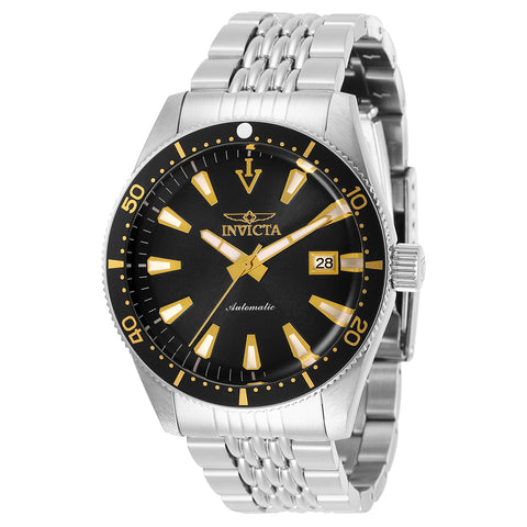 INVICTA Vintage Men 43mm Stainless Steel Stainless Steel Silver dial NH35A Automatic