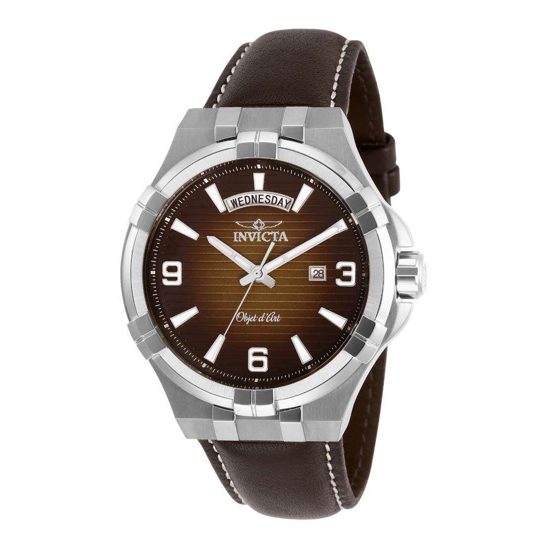 INVICTA Objet D Art Men 44mm Stainless Steel Steel Brown dial VJ55 Quartz 30184