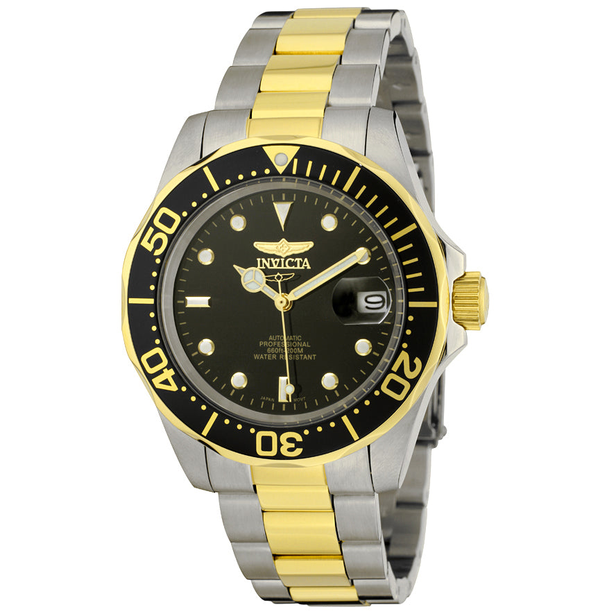 INVICTA Pro Diver Men 40mm Stainless Steel Gold + Stainless Steel Black dial NH35A Automatic 8927